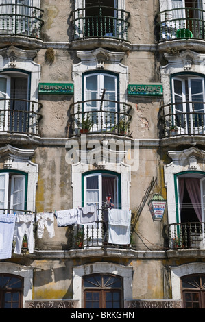 Old house facade Alfama Lisbon Portugal - Stock Photo