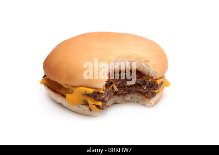 a tasty hamburger over white background. unhealthy junk food. - Stock Photo