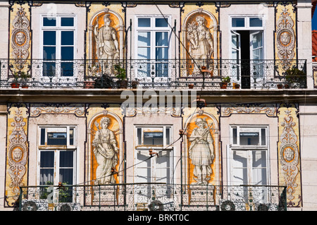 Tile decorated house Bairro Alto Lisbon Portugal - Stock Photo