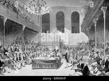 The Old House of Commons which was destroyed by fire in 1834. - Stock Photo