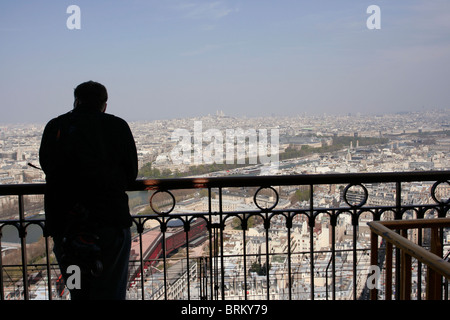 Aerial view of Paris from the second floor of Eiffel Tower. - Stock Photo