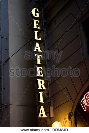 Neon Ice Cream sign at night - Stock Photo