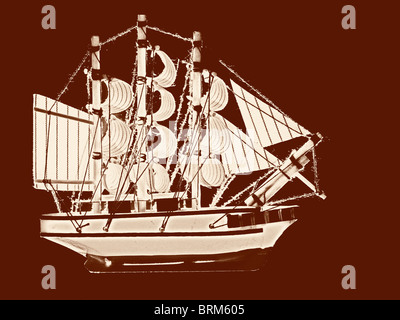 Filtered silhouette of an old sail ship. - Stock Photo