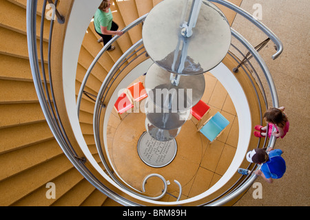 Spiral Staircase at The De La Warr Pavilion, Bexhill on Sea, Sussex, England - Stock Photo
