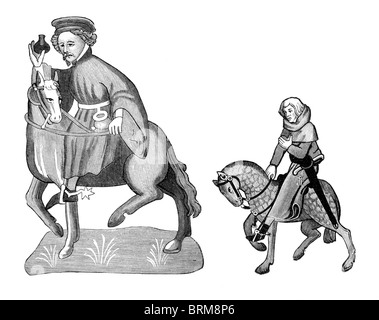 Black and White Illustration; Manciple and Reeve, from the Ellesmere Manuscript of the Canterbury Tales, - Stock Photo
