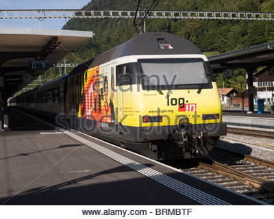 Class Re 460 locomotive at Interlaken Ost in log.in livery - Stock Photo