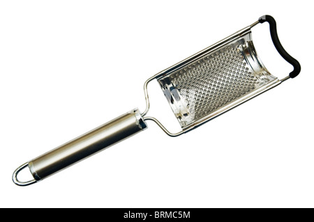 Nutmeg grater cutout on a white background. - Stock Photo