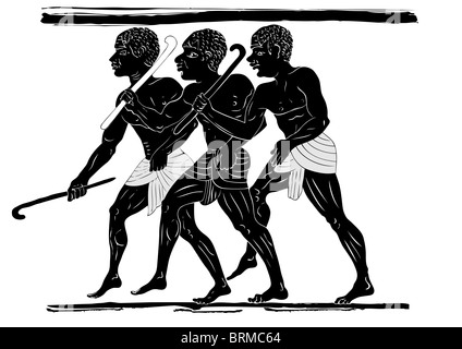 three hunters in primitive style - African ancient art - Stock Photo