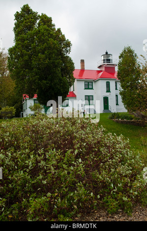Grand Traverse Lighthouse Located inside the Leelanau State Park in Northern Michigan, The Grand Traverse Lighthouse - Stock Photo