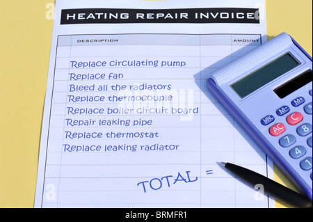 Heating system repair invoice with calculator and pen - Stock Photo