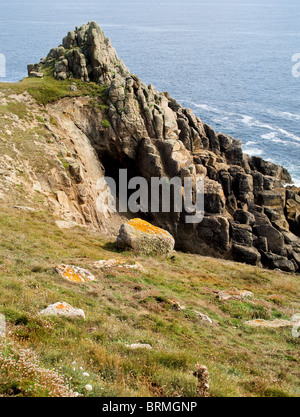 A rocky outcrop on the coast of Gwennap Head in Cornwall.  Photo by Gordon Scammell - Stock Photo