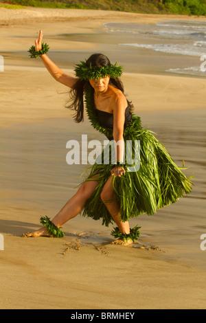 Hula on the beach at Palauea, Maui, Hawaii. - Stock Photo