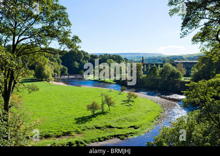 Bolton Priory with the River Wharfe in the foreground, Bolton Abbey, Wharfedale, Yorkshire Dales, North Yorkshire, - Stock Photo