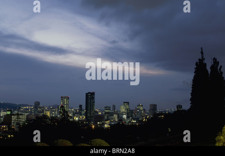 Pretoria City view at dusk seen from the Union Buildings - Stock Photo