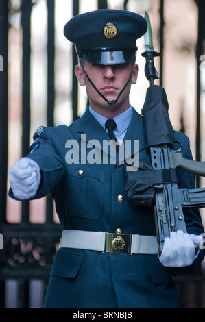 RAF guardsman marching at the Mall in London, UK - Stock Photo