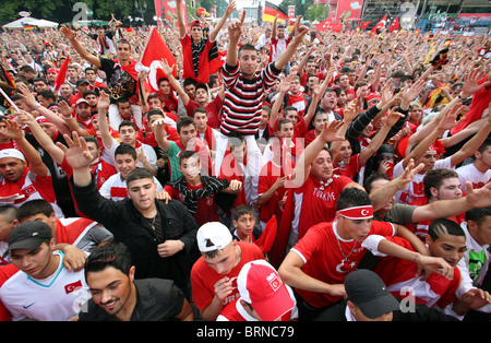 Football fans at the semi-final match between Germany and Turkey, Berlin, Germany