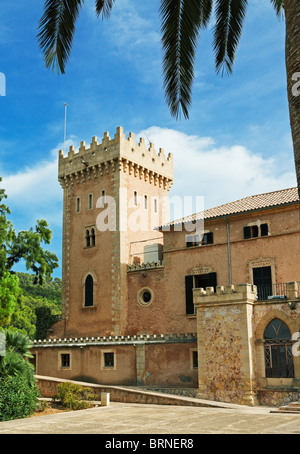 Spain Balearic Mallorca Andratx town hall fort castle palm tree - Stock Photo