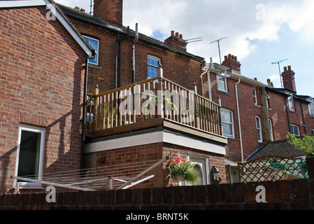 Small roof garden behind terraced house in Devizes UK - Stock Photo