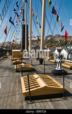 dh SS Great Britain BRISTOL DOCKS BRISTOL SS Great Britain ships deck rigging masts tourists - Stock Photo