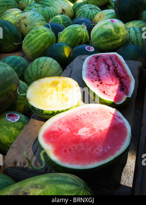 Delicious farm fresh country watermelons - Stock Photo