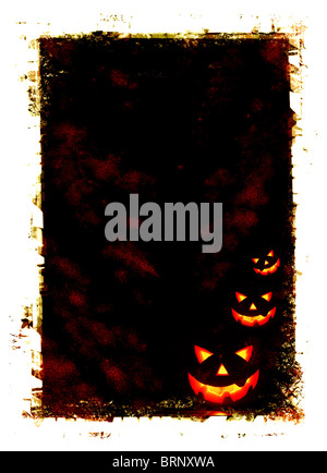 Halloween holiday card background with glowing jack-o-lantern in the darkness - Stock Photo