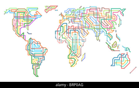 Illustration of the world in the style of an underground map - Stock Photo