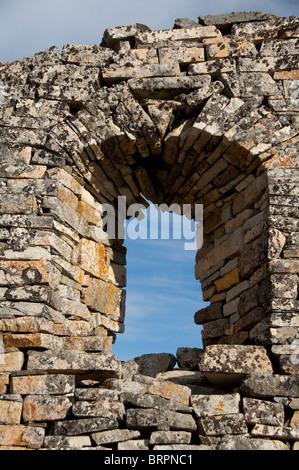 Greenland, Qaqortoq, Hvalsey (aka Whale Island). 14th c. stone ruins of Hvalsey Church (aka Hvalso Kirkeruin). - Stock Photo