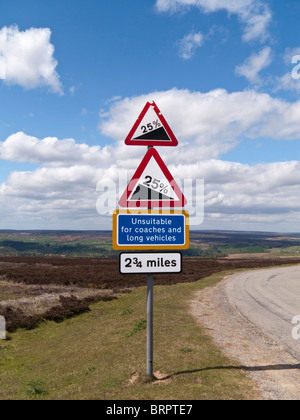 Road signs, warning sign steep hill, North York Moors, Yorkshire UK - Stock Photo