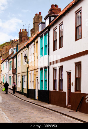 Street of typical old terraced houses England UK - Stock Photo