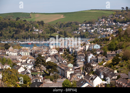 UK, England, Devon, Dartmouth, elevated view of town and River Dart - Stock Photo