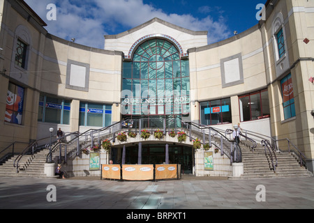 Cardiff Glamorgan South Wales UK Steps lead up to the entrance to the Queens Arcade - Stock Photo