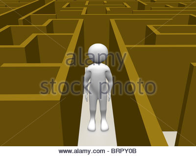 A man in a maze searching the exit. Conceptual illustration - Stock Photo