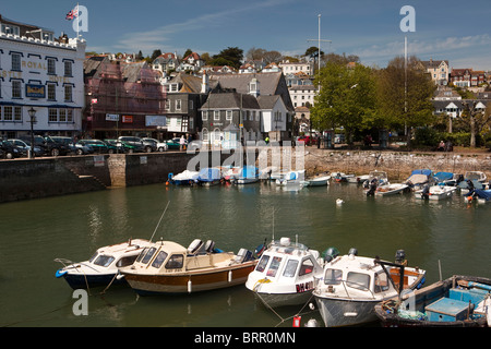 UK, England, Devon, Dartmouth, The Quay, Royal Castle Hotel overlooking the Boat Float - Stock Photo