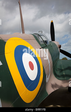 RAF roundel on replica Spitfire at The Battle of Britain Memorial Capel-le-Ferne Dover England UK - Stock Photo