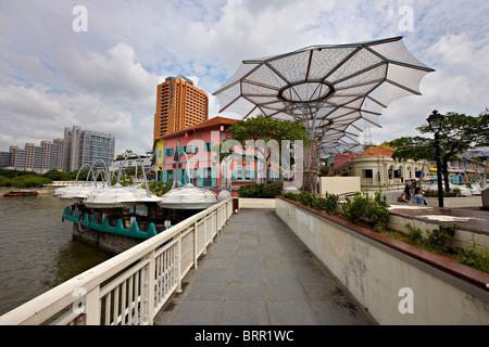 Read Bridge, Clarke Quay, Singapore - Stock Photo