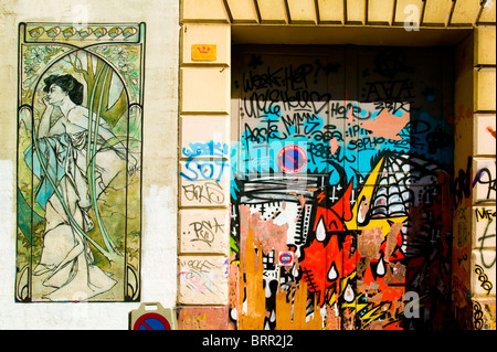 PAINTED WALL,RUE CRUDERE, COURS JULIEN, MARSEILLE, FRANCE - Stock Photo
