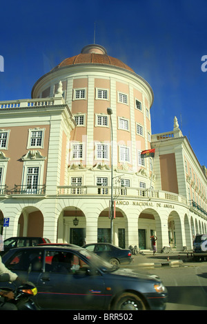 Colonial building housing the National bank of Angola in Luanda, the capital of Angola. - Stock Photo