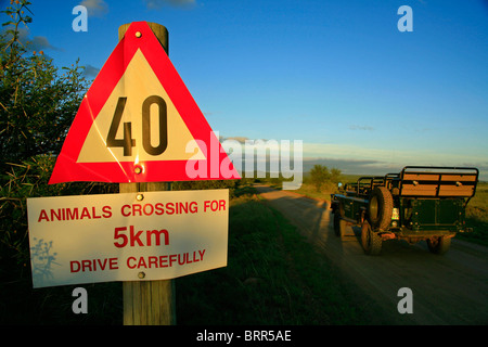 Speed limit sign in Addo Elephant National Park - Stock Photo