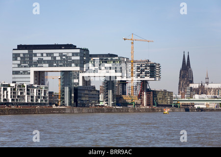 New office buildings, Crane Houses and Cathedral, Cologne, Rhineland, Germany - Stock Photo