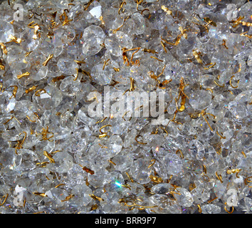 Strass transparent glass jewelery pattern texture golden wire - Stock Photo
