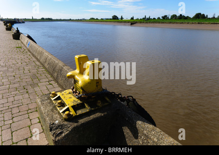 A view  along the River Ouse at King's Lynn, looking inland towards the south and the Fens - Stock Photo