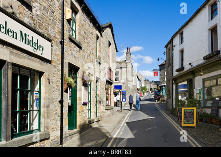 The main street in the village of Grassington, Upper Wharfedale, Yorkshire Dales, North Yorkshire, England, UK