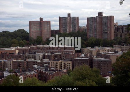 Densely packed apartment buildings seen in upper Manhattan in New York on Sunday, October 3, 2010. (© Frances M. - Stock Photo