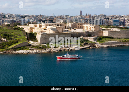 View of Valletta from Marsamxett Harbour on Manoel Harbour, Valletta, Malta, Europe - Stock Photo