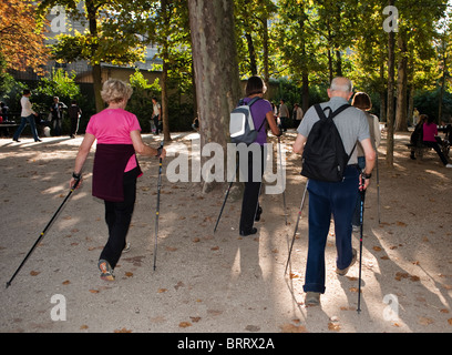 Paris, France, Group Senior People Exercising, Nordic Walking in Luxembourg Park, Jardin du Luxembourg - Stock Photo
