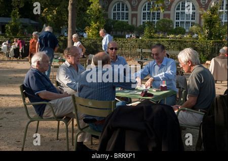 Paris, France, Group of French People in Luxembourg Park, 'Jardin de Luxembourg', Senior Men Playing Chess at table - Stock Photo