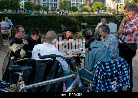 Paris, France, People in Luxembourg Park, Jardin du Luxembourg, Senior Men Playing Chess - Stock Photo