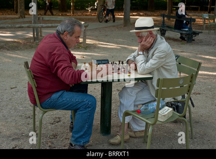 Paris, France, People in Luxembourg Park, 'Jardin de Luxembourg', Senior Men Playing Chess - Stock Photo