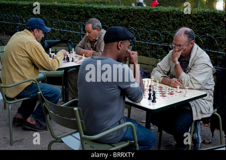 Paris, France, French People in Luxembourg Park, 'Jardin du Luxembourg', Senior Men Playing Chess - Stock Photo