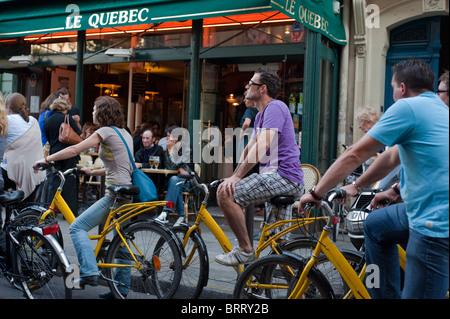 Paris, France, Adult Tourists Visiting Paris by Bicycle Tour, bicycling, Saint Germain des Pres District - Stock Photo